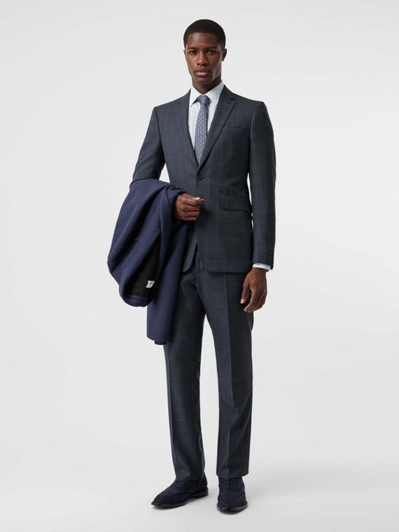 Classic Fit Windowpane Check Wool Suit in Light Navy