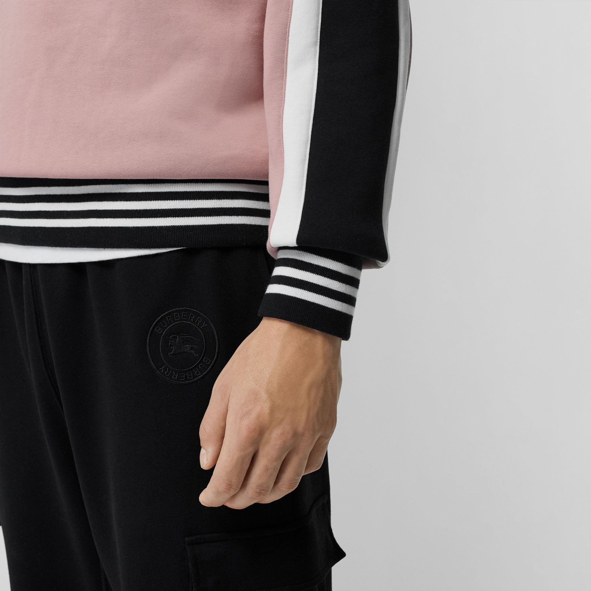 Stripe Detail Cotton Jersey Sweatshirt in Pale Orchid - Men | Burberry - gallery image 1