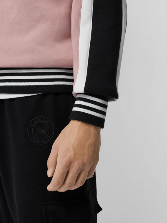 Stripe Detail Cotton Jersey Sweatshirt in Pale Orchid - Men | Burberry - cell image 1