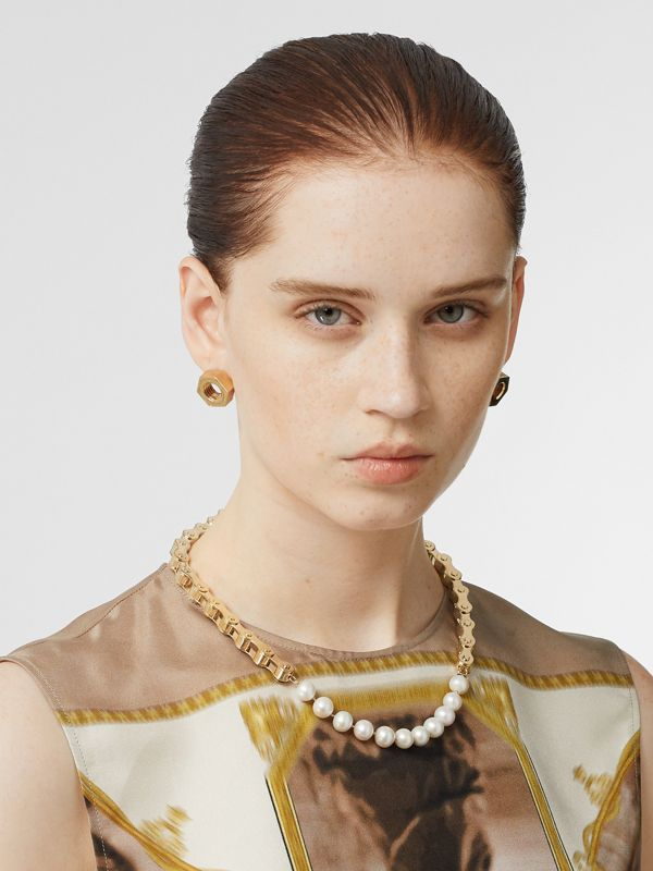 Pearl Detail Bicycle Chain Gold-plated Necklace in Light | Burberry - cell image 2