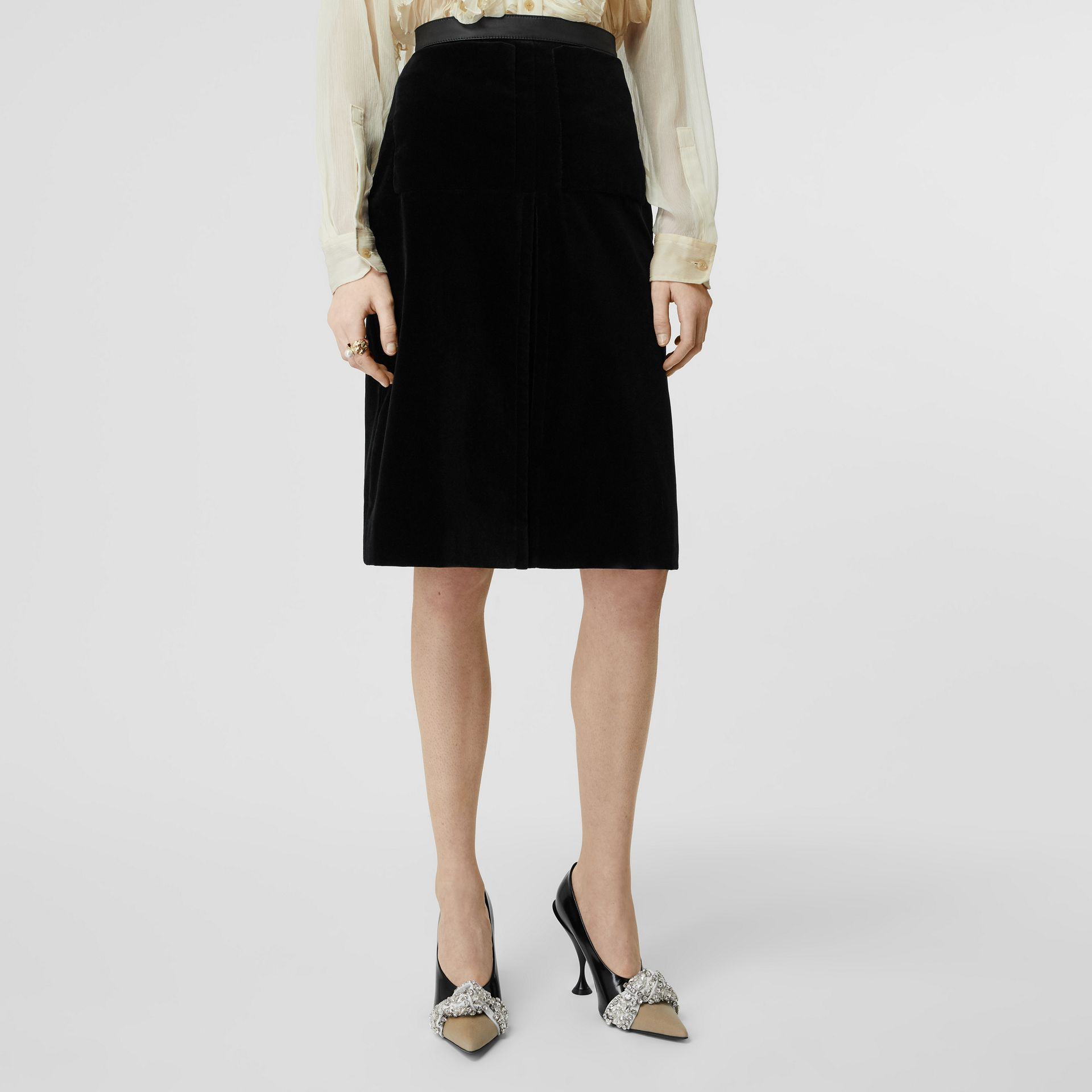 Lambskin Trim Box Pleat Detail Velvet and Wool Skirt in Black - Women | Burberry - gallery image 3