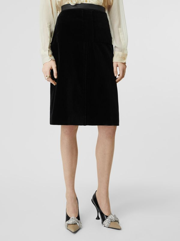 Lambskin Trim Box Pleat Detail Velvet and Wool Skirt in Black - Women | Burberry - cell image 3