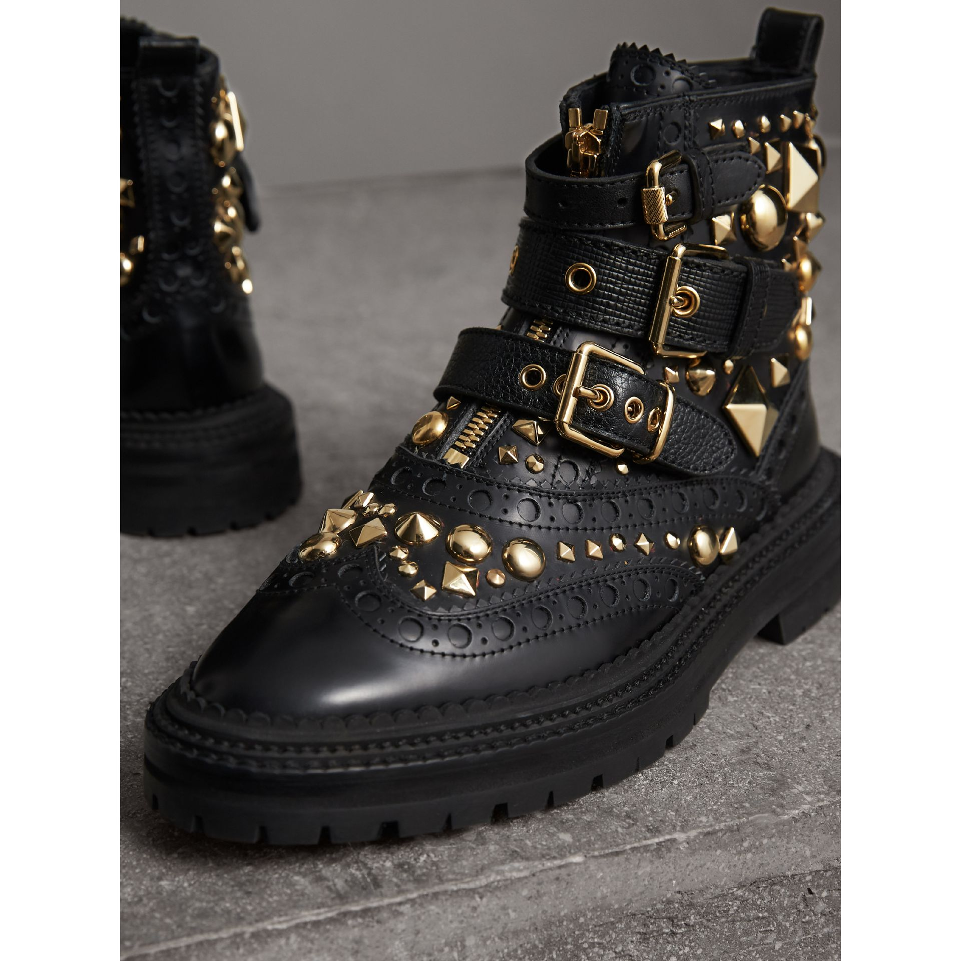 Studded Leather Brogue Ankle Boots in Black | Burberry - gallery image 4