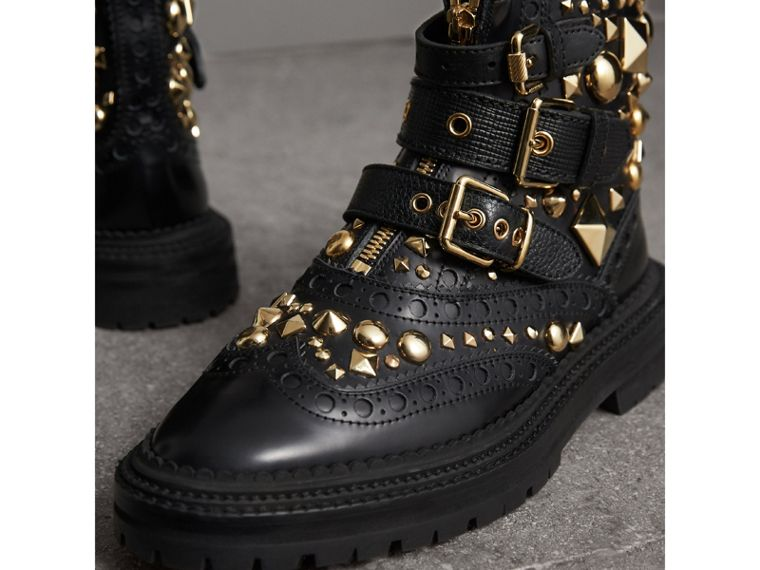 Studded Leather Brogue Ankle Boots in Black - Women | Burberry - cell image 4