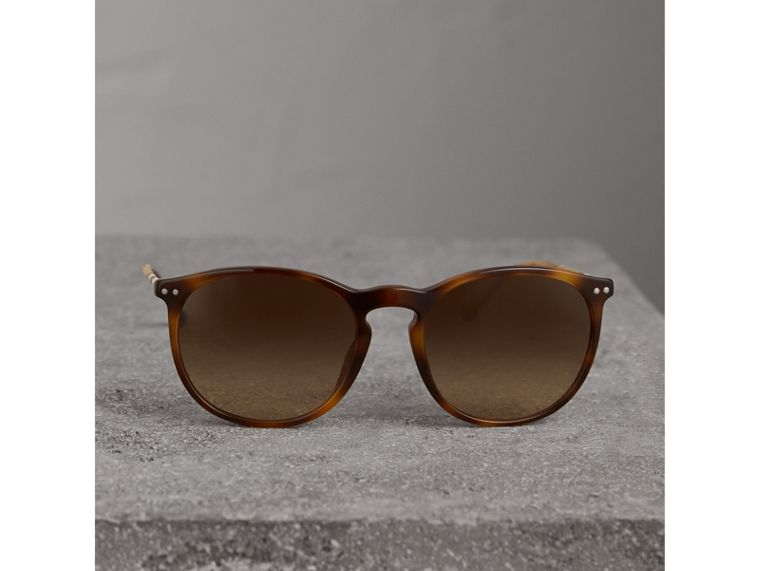 Check Detail Round Frame Sunglasses in Light Brown - Men | Burberry Singapore - cell image 2