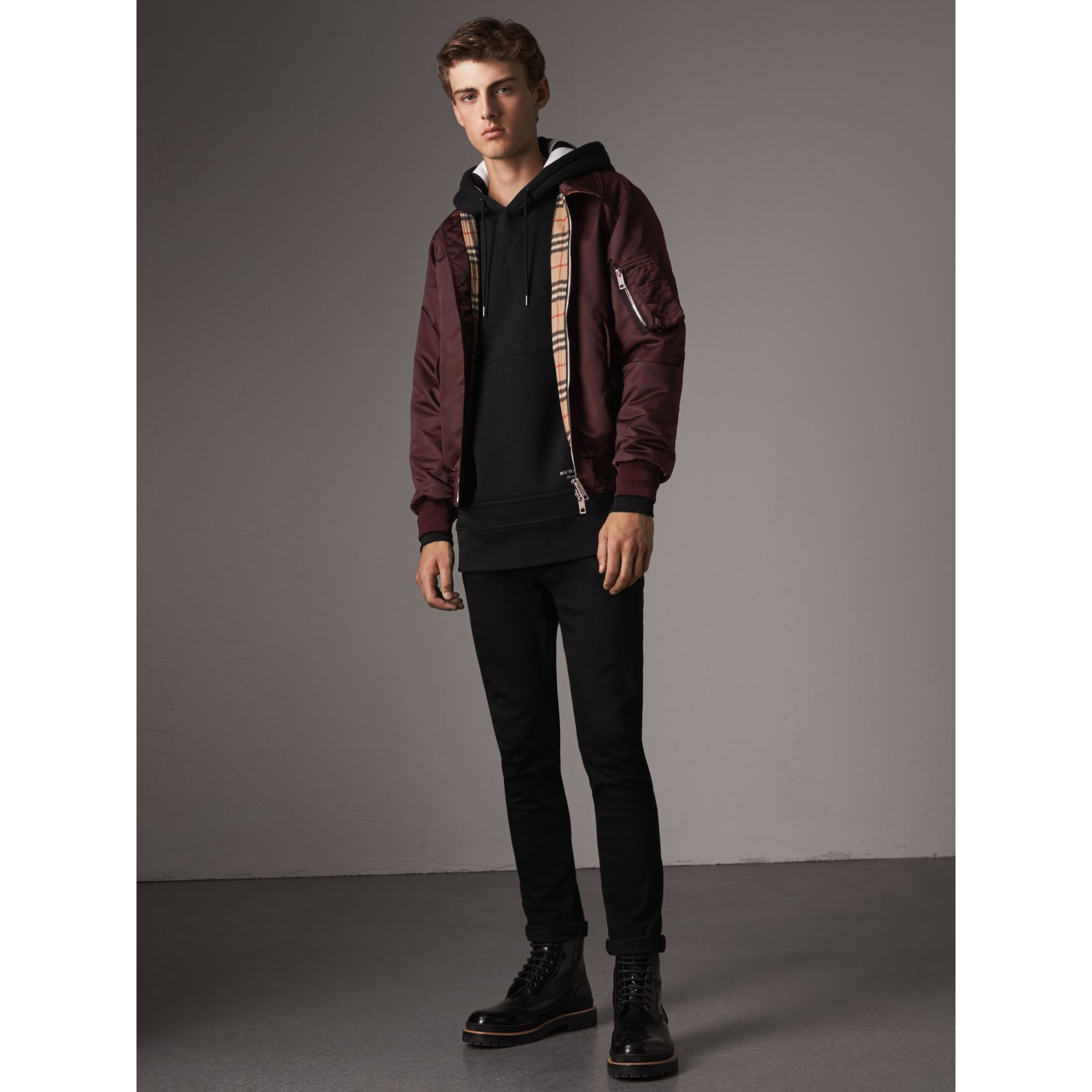 Point Collar Bomber Jacket in Claret - Men | Burberry - gallery image 6