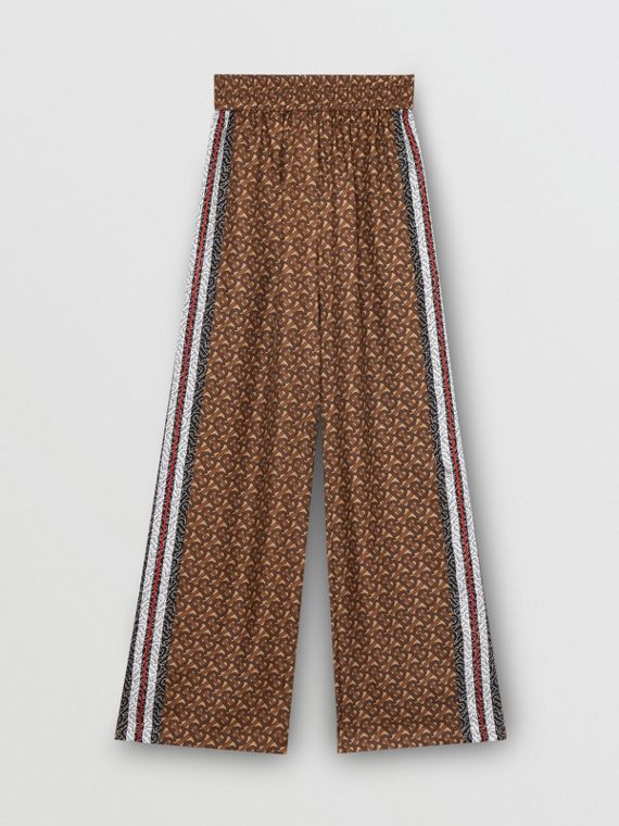 Monogram Stripe Print Silk Trousers in Bridle Brown