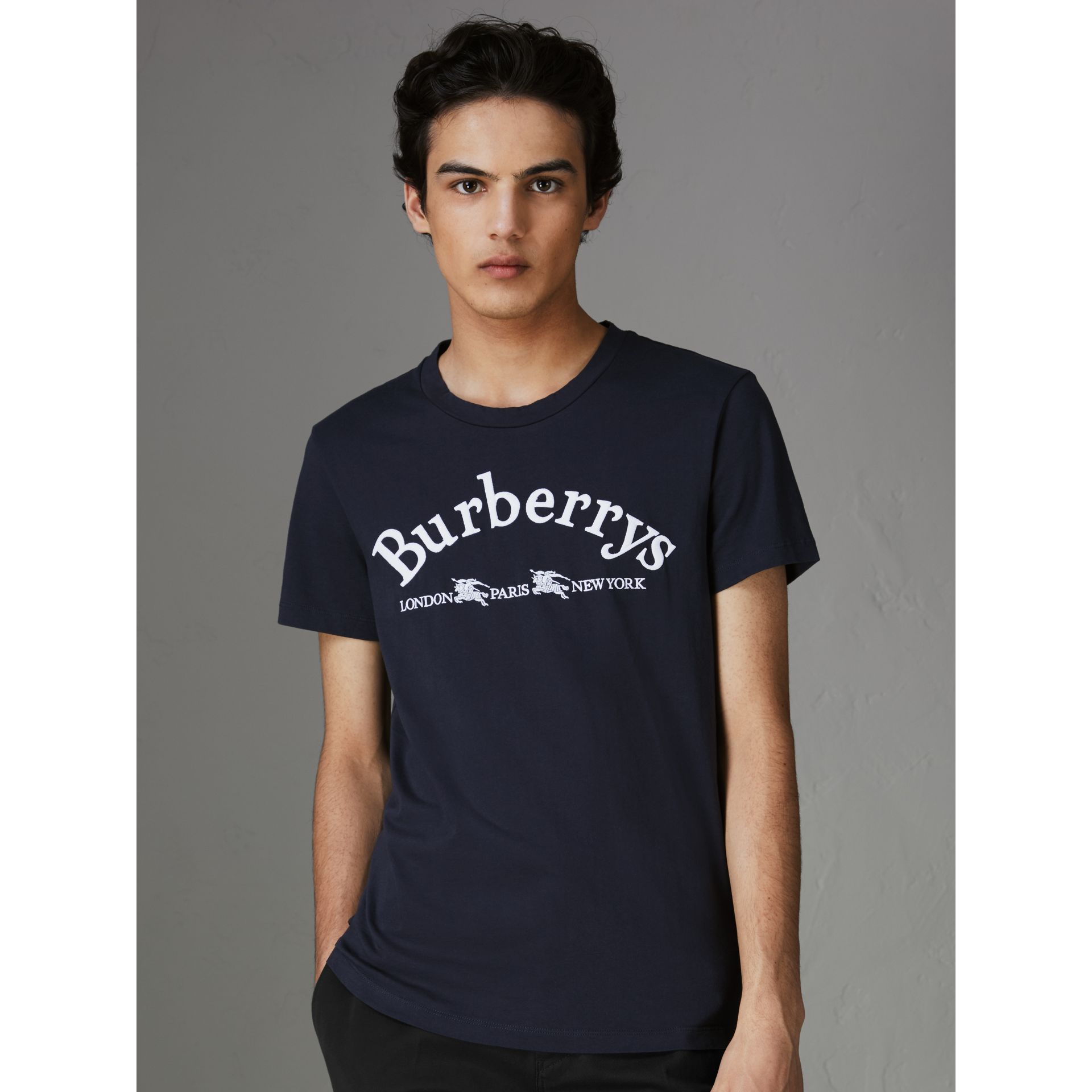 Archive Logo Cotton T-shirt in Navy - Men | Burberry Singapore - gallery image 0