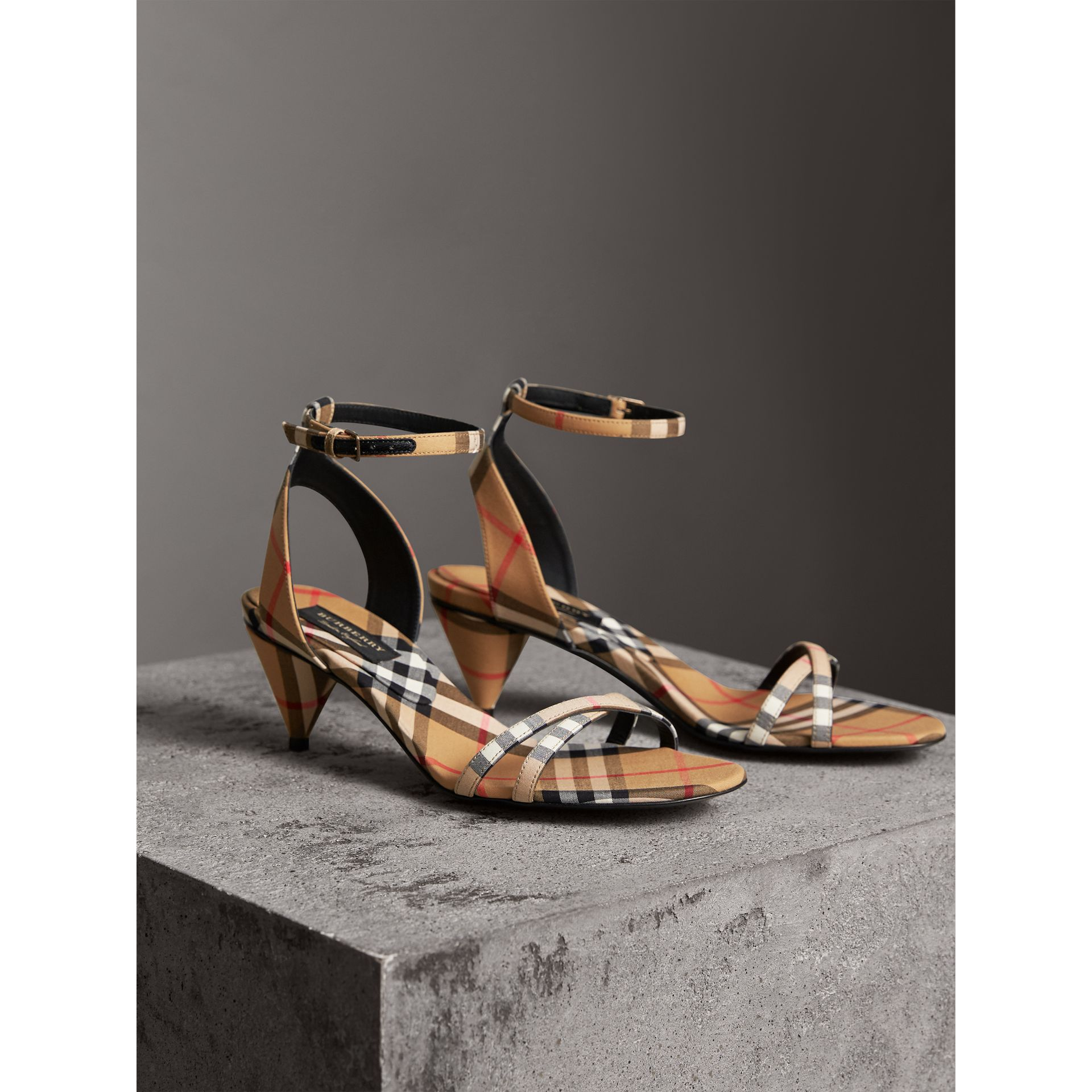 Vintage Check Cotton Cone-heel Sandals in Antique Yellow - Women | Burberry - gallery image 4