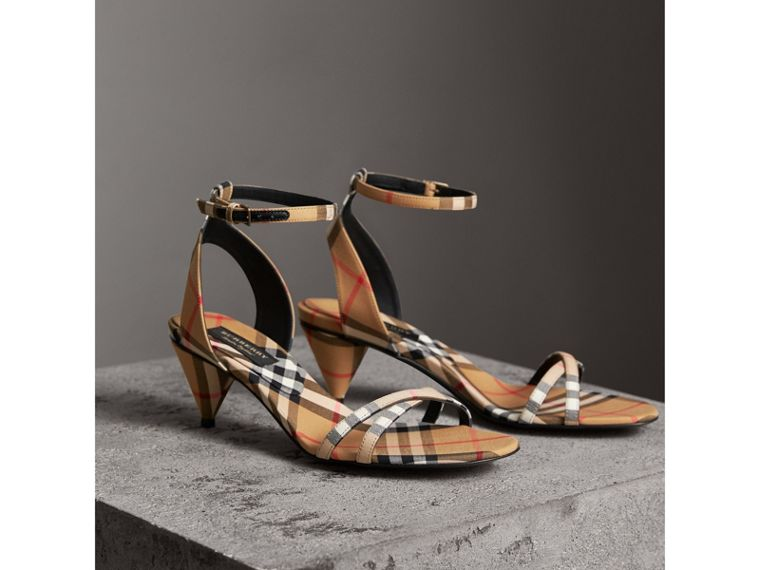 Vintage Check Cotton Cone-heel Sandals in Antique Yellow - Women | Burberry Singapore - cell image 4