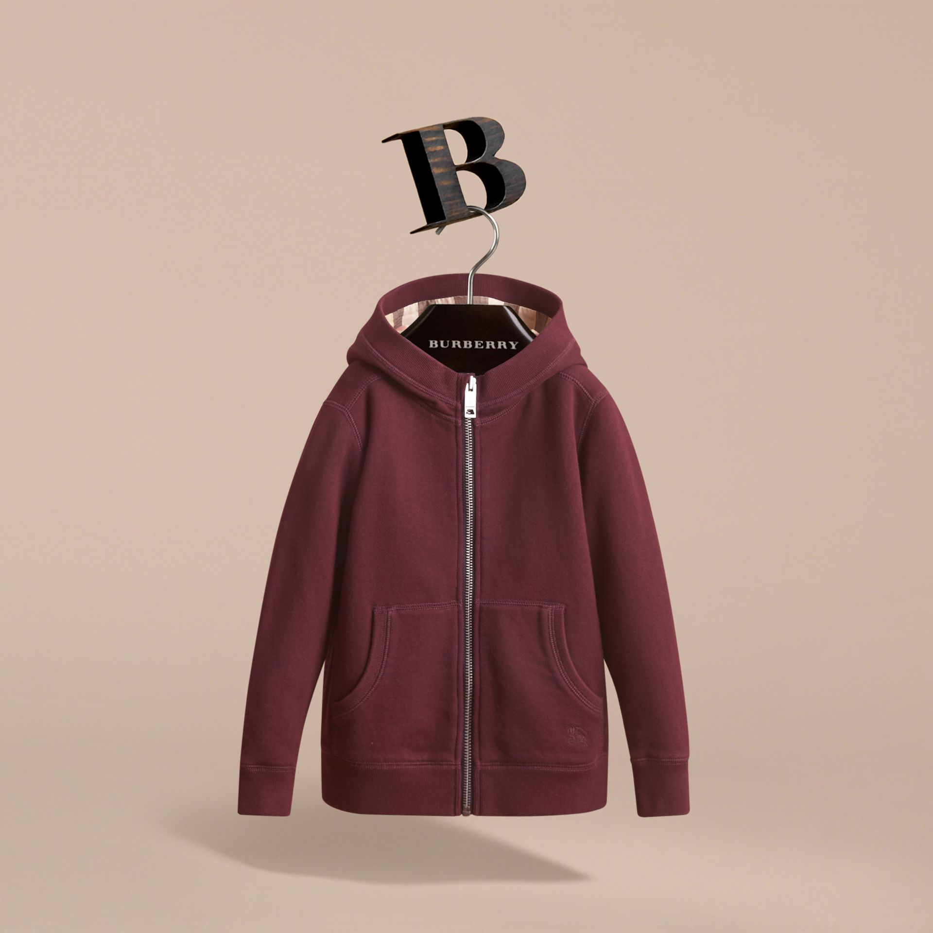 Hooded Cotton Top in Burgundy - Boy | Burberry United Kingdom - gallery image 2
