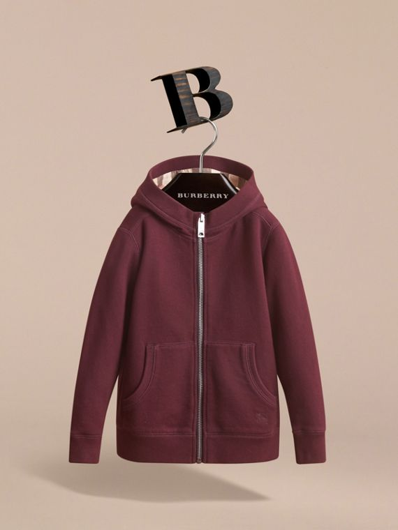 Hooded Cotton Top in Burgundy - Boy | Burberry United Kingdom - cell image 2