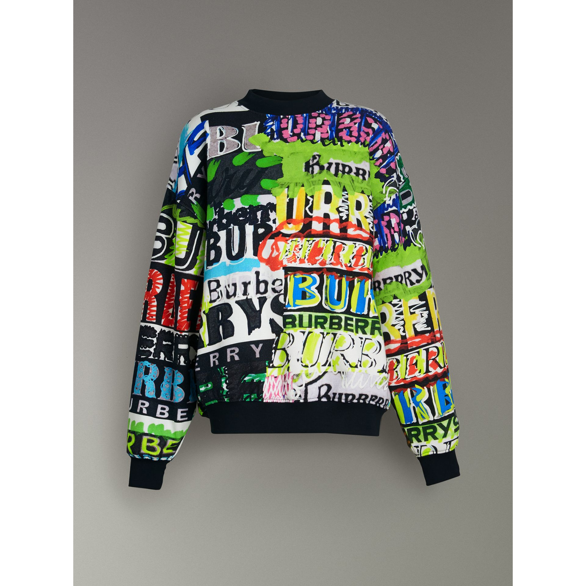 Graffiti Logo Cotton Jersey Sweatshirt in Multicolour - Women | Burberry Hong Kong - gallery image 3