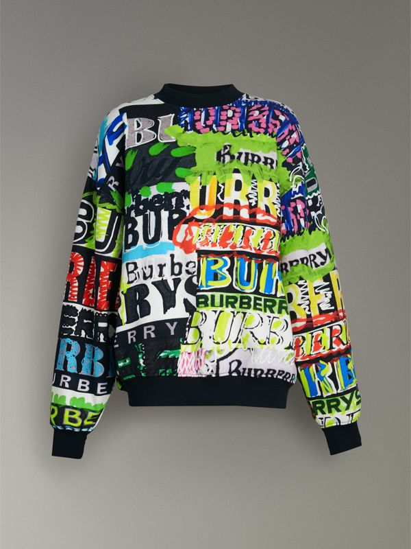 Tag Print Cotton Jersey Sweatshirt in Miscellaneous - Women | Burberry United States - cell image 3