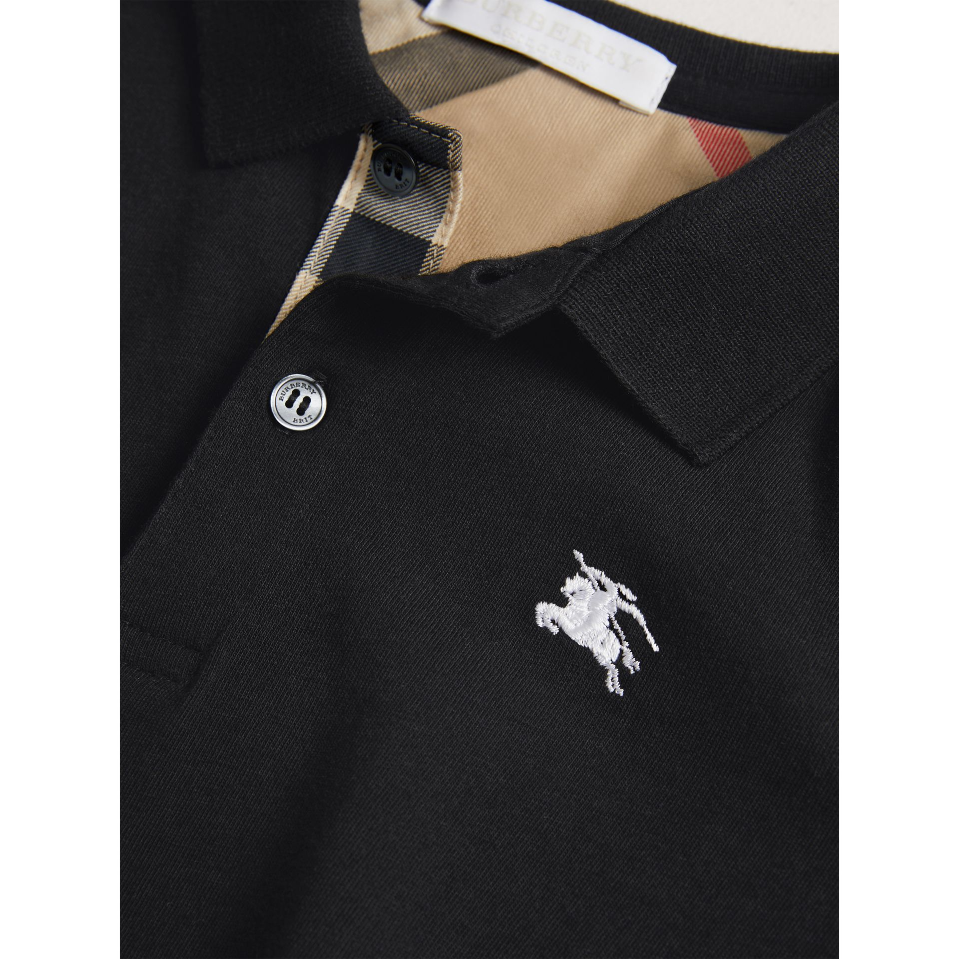 Long-sleeve Cotton Jersey Polo Shirt in Black - Boy | Burberry - gallery image 1