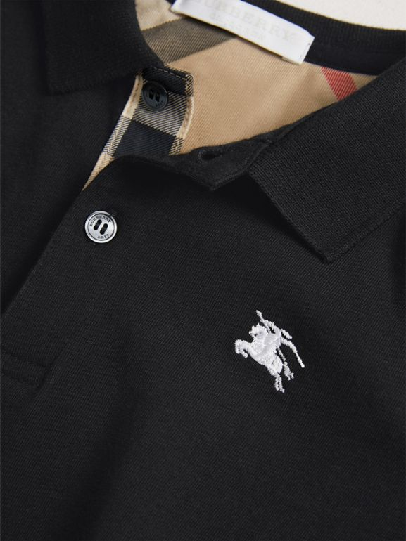 Long-sleeve Cotton Jersey Polo Shirt in Black - Boy | Burberry United Kingdom - cell image 1