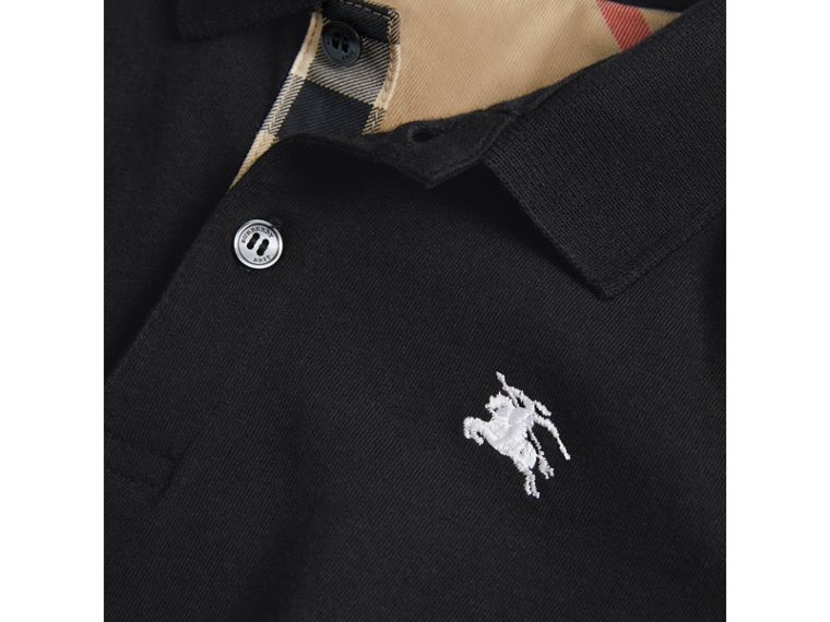 Long-sleeve Cotton Jersey Polo Shirt in Black - Boy | Burberry Hong Kong - cell image 1