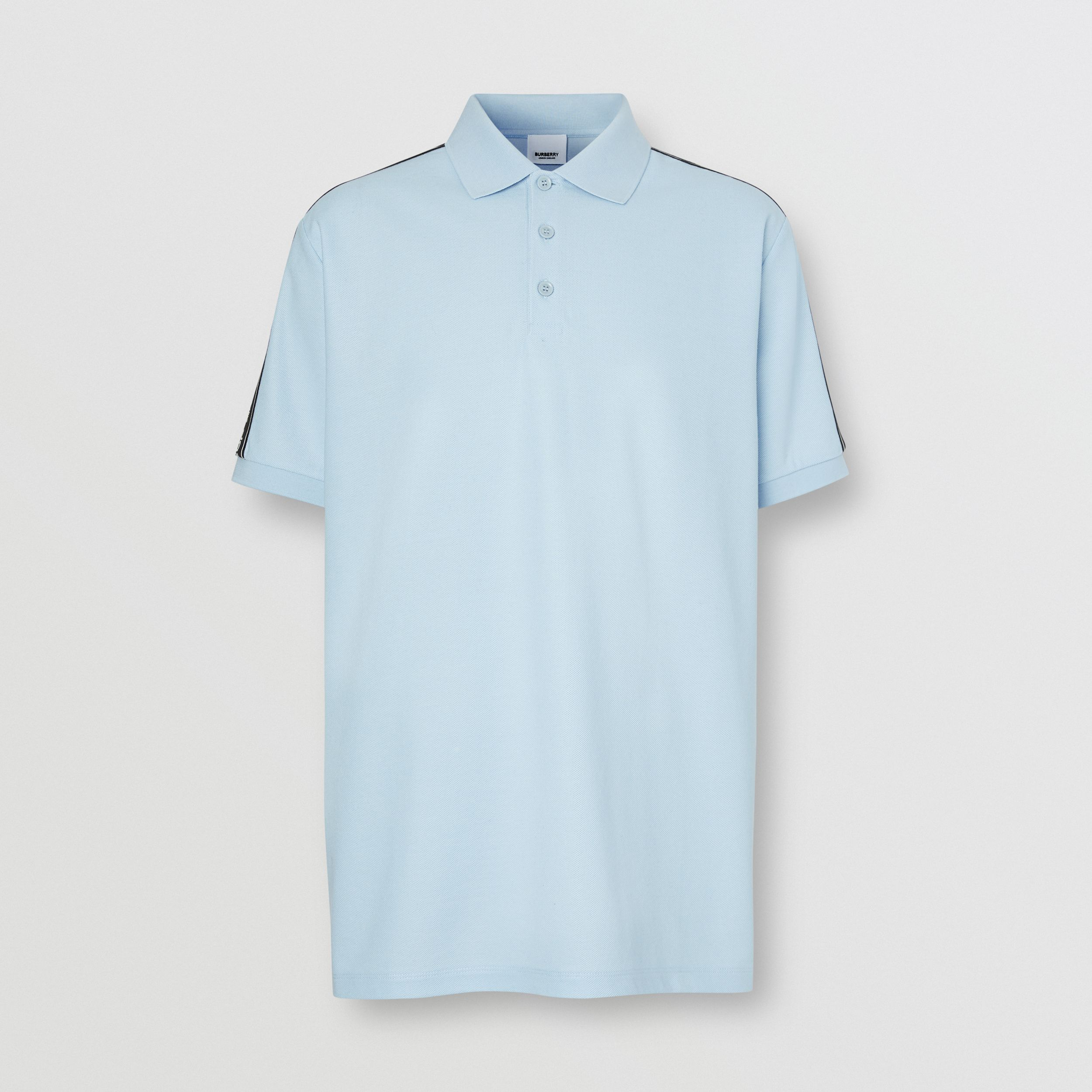Logo Tape Cotton Piqué Polo Shirt in Pale Blue - Men | Burberry - 4