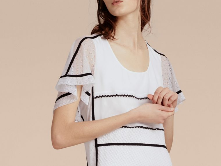 White Fil Coupé and Lace-trimmed Shift Dress - cell image 4