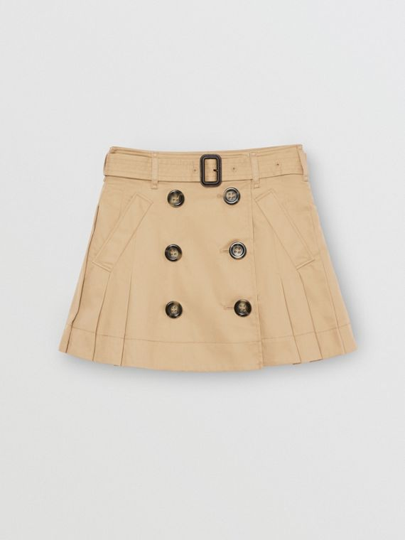 Pleated Cotton Twill Trench Skirt in Honey