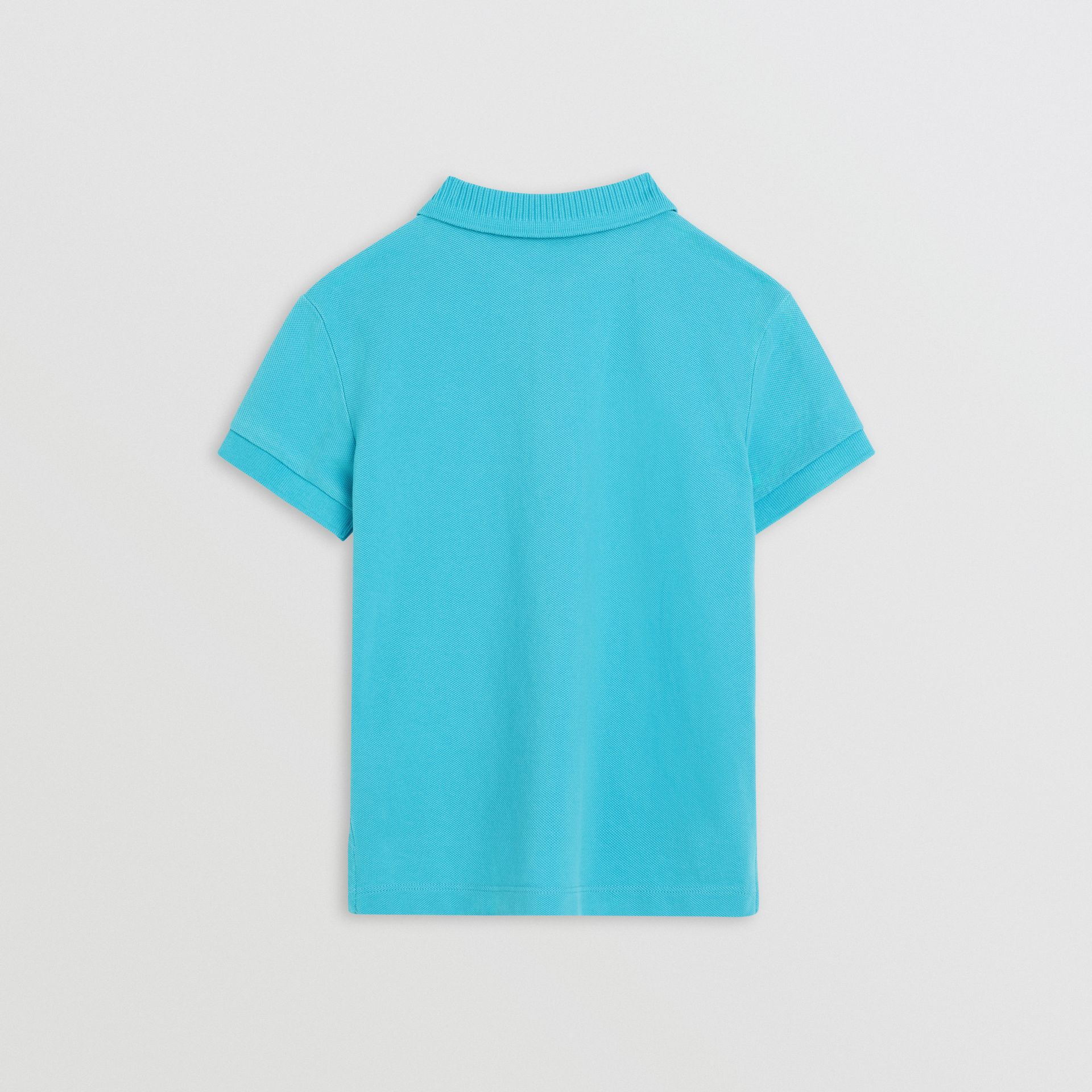 EKD Logo Cotton Piqué Polo Shirt in Bright Cyan Blue | Burberry - gallery image 3