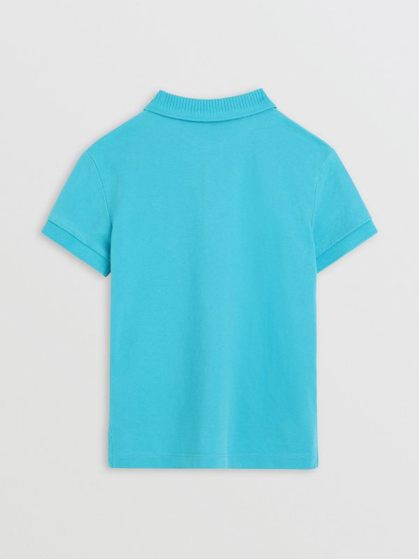 EKD Logo Cotton Piqué Polo Shirt in Bright Cyan Blue | Burberry - cell image 3
