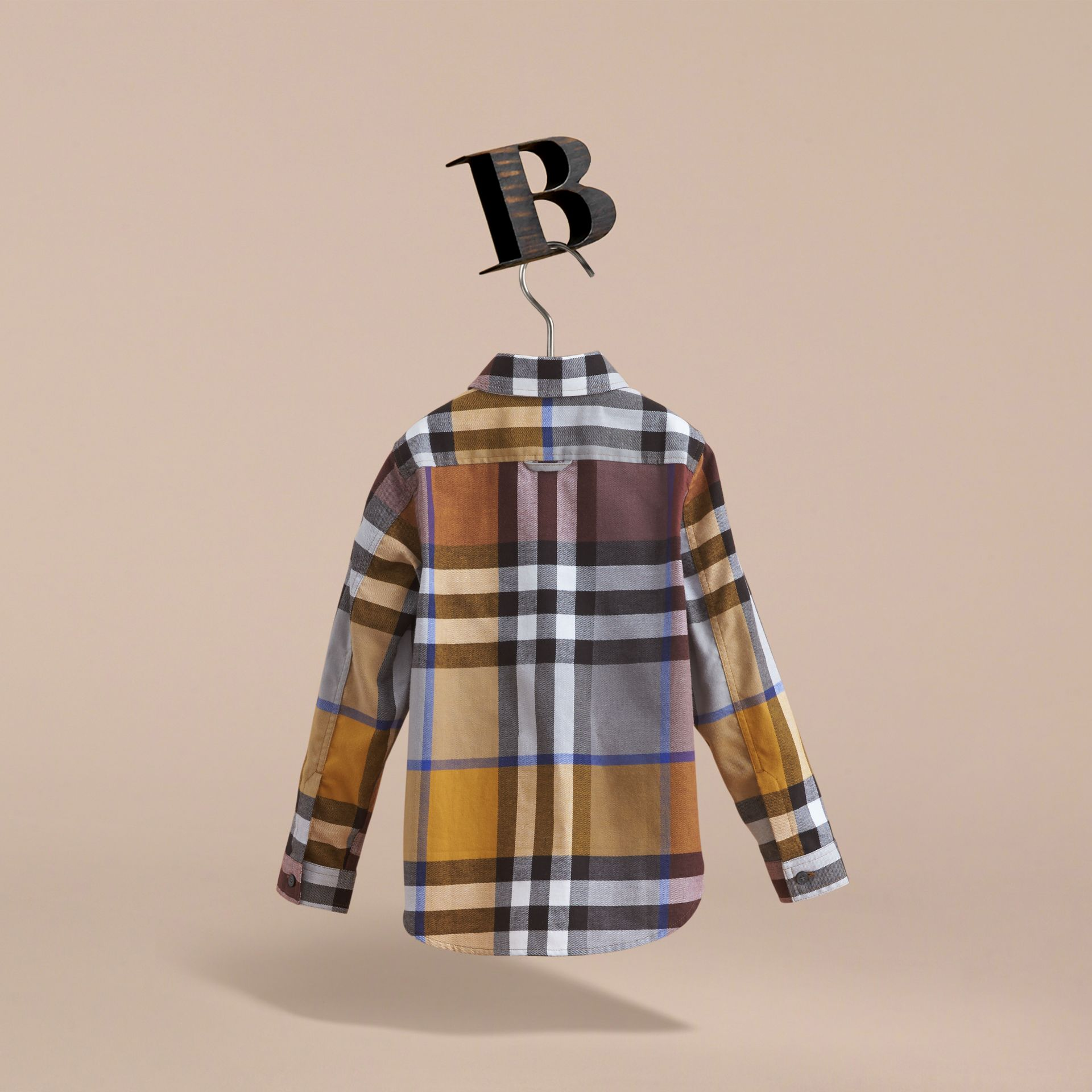 Pocket Detail Check Flannel Shirt in Ochre Yellow - Boy | Burberry Singapore - gallery image 4