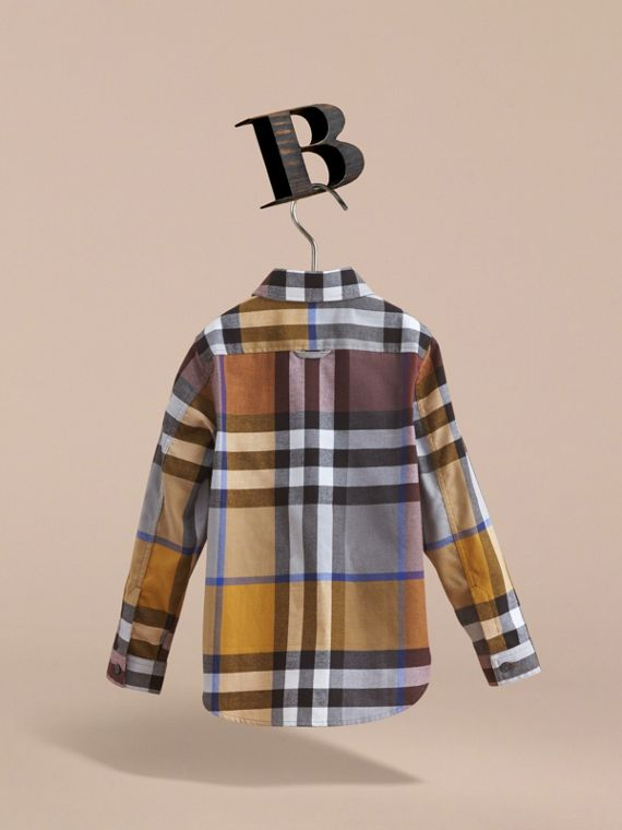 Pocket Detail Check Flannel Shirt in Ochre Yellow - Boy | Burberry - cell image 3