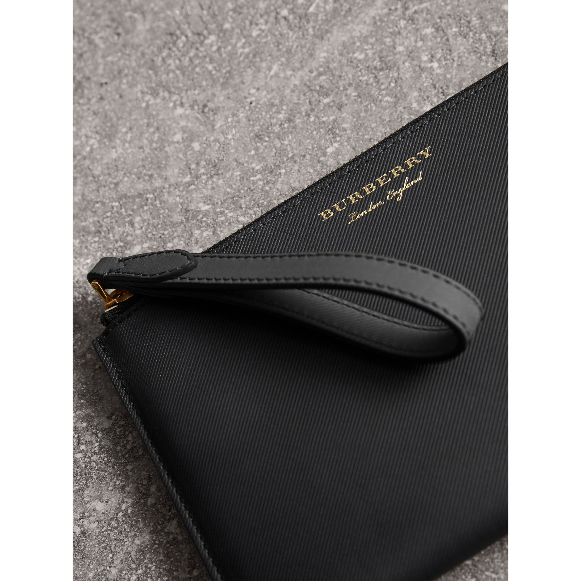 Two-tone Trench Leather Travel Wallet in Black | Burberry - gallery image 1