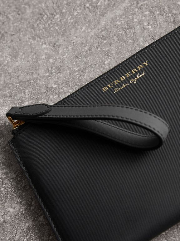 Two-tone Trench Leather Travel Wallet in Black | Burberry - cell image 1