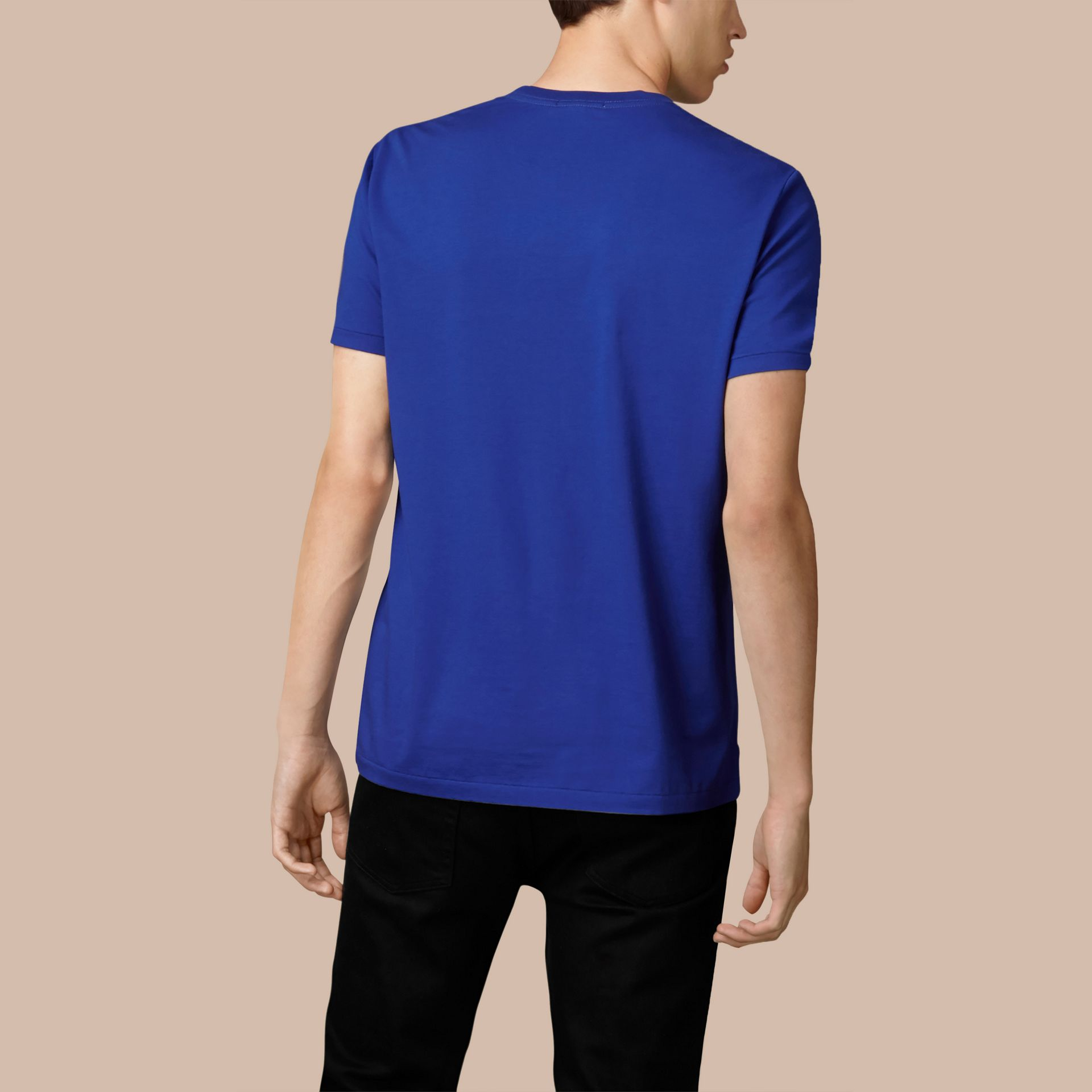 Cotton Jersey T-shirt in Bright Lapis - Men | Burberry United Kingdom - gallery image 3