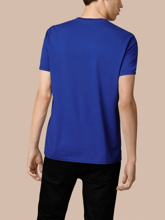 Cotton Jersey T-shirt in Bright Lapis - Men | Burberry - cell image 2