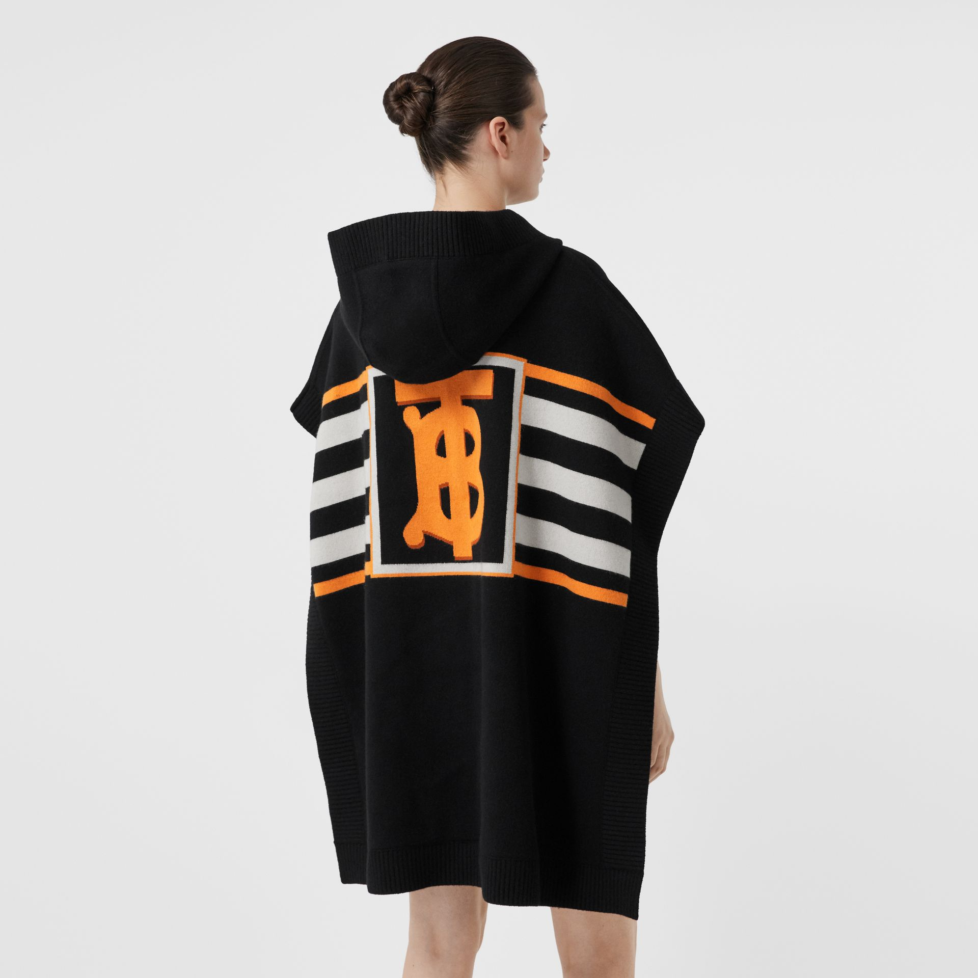 Monogram Motif Intarsia Wool Cashmere Blend Cape in Black - Women | Burberry - gallery image 2