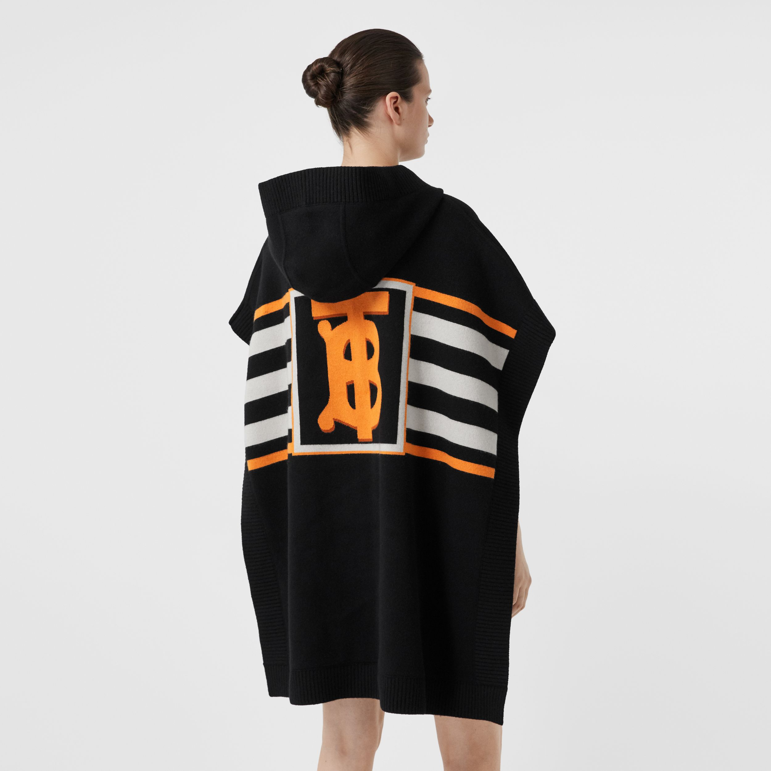 Monogram Motif Intarsia Wool Cashmere Blend Cape in Black - Women | Burberry - 3