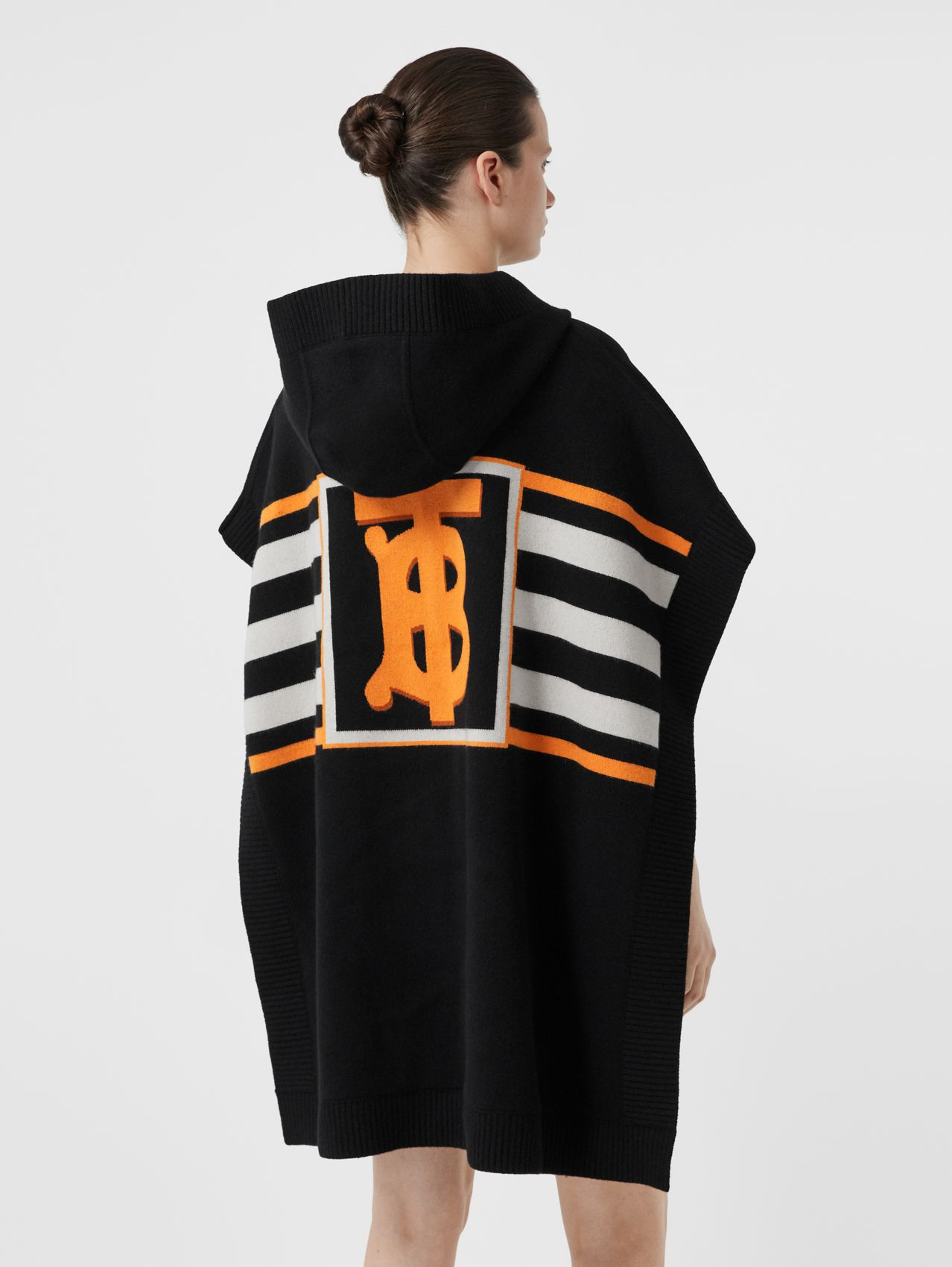 Monogram Motif Intarsia Wool Cashmere Blend Cape in Black