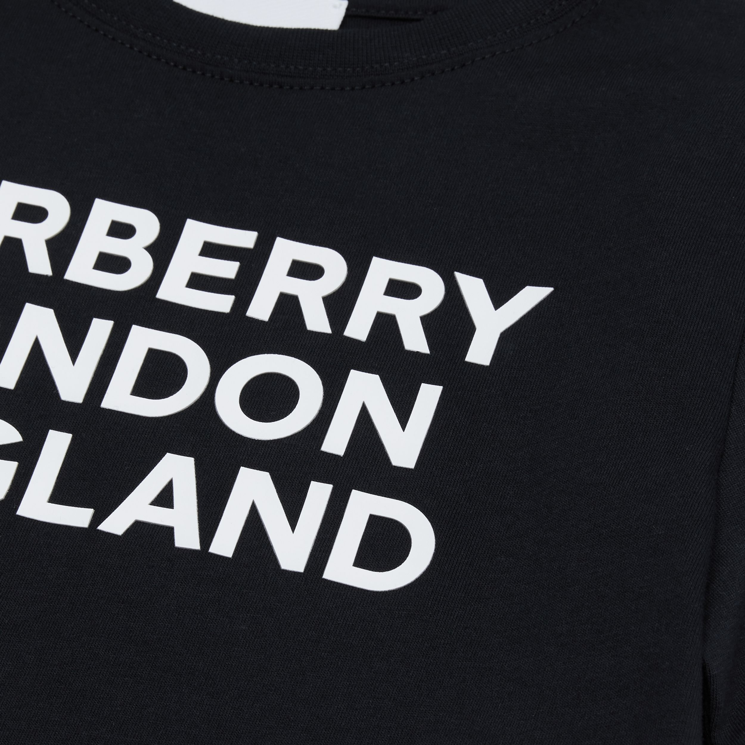Logo Print Cotton T-shirt in Black | Burberry - 2