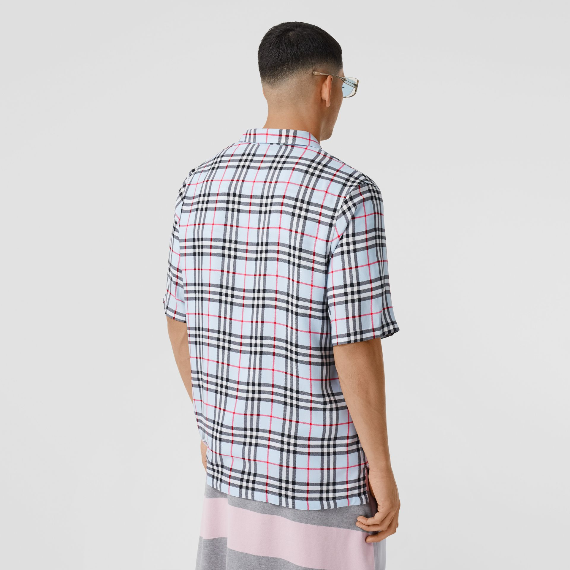 Short-sleeve Vintage Check Twill Shirt in Pale Blue - Men | Burberry United Kingdom - gallery image 2