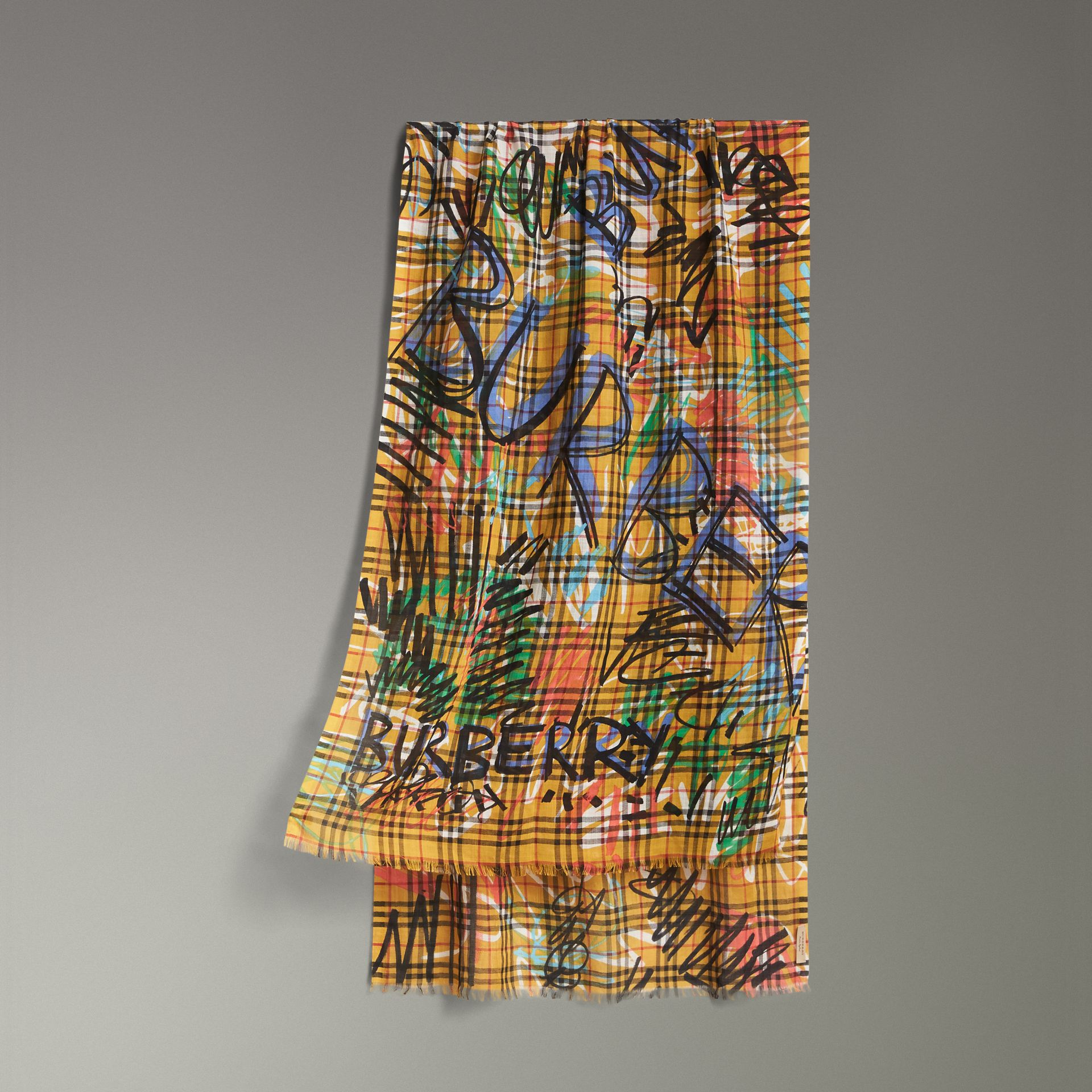 Graffiti Print Vintage Check Wool Silk Scarf in Amber Yellow | Burberry - gallery image 0