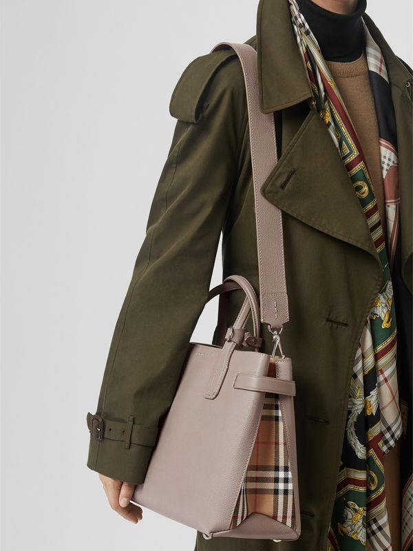 The Medium Banner in Leather and Vintage Check in Taupe Brown - Women | Burberry United Kingdom - cell image 3