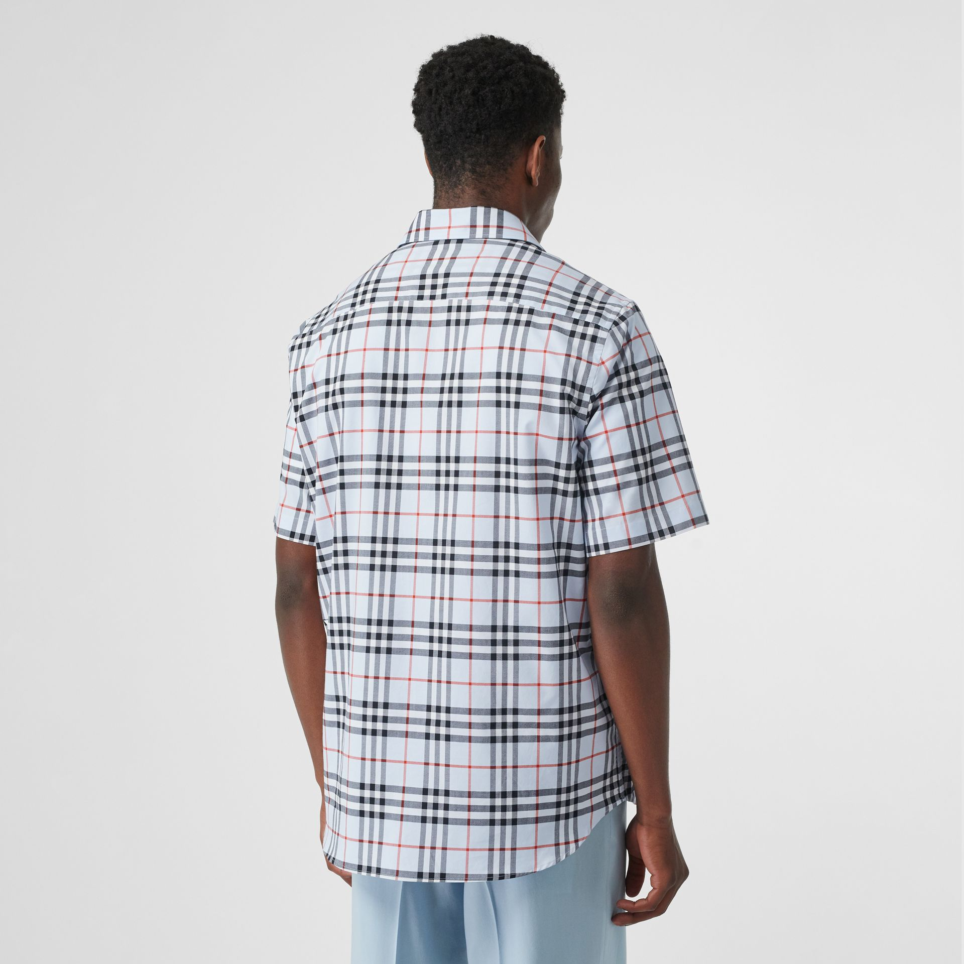 Short-sleeve Vintage Check Cotton Oversized Shirt in Pale Blue - Men | Burberry Hong Kong S.A.R - gallery image 2
