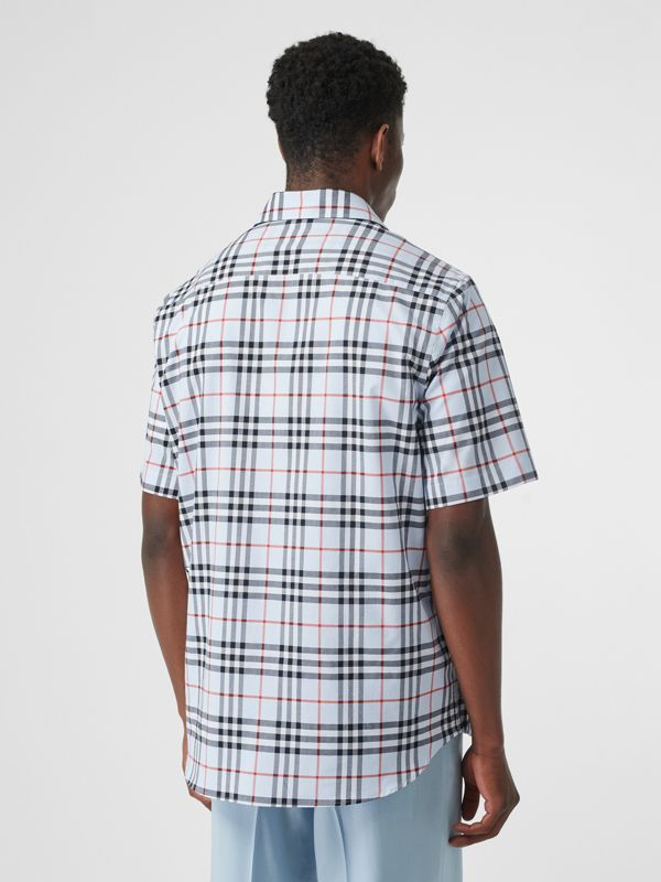 Short-sleeve Vintage Check Cotton Oversized Shirt in Pale Blue - Men | Burberry United States - cell image 2