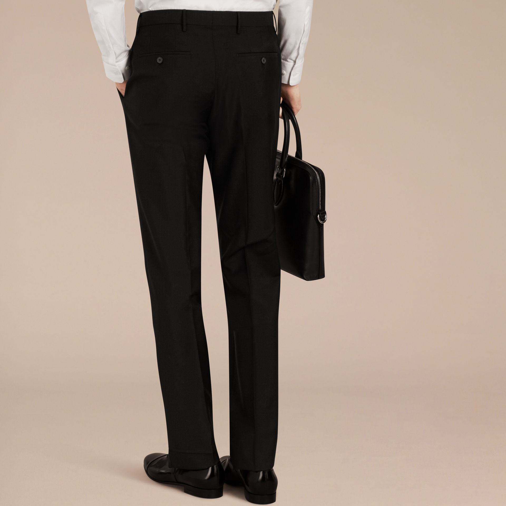 Black Slim Fit Wool Mohair Trousers Black - gallery image 4