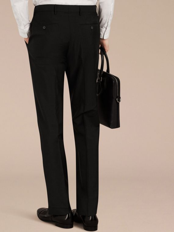 Black Slim Fit Wool Mohair Trousers Black - cell image 3