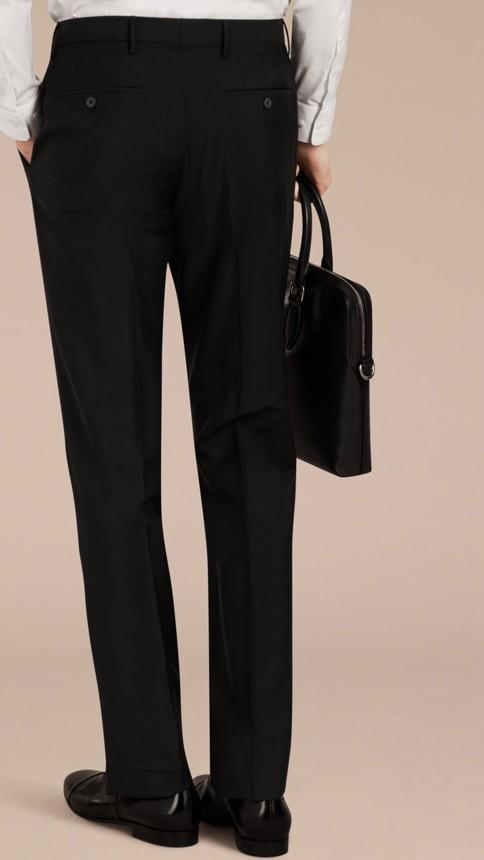 Black Slim Fit Wool Mohair Trousers Black - Image 4