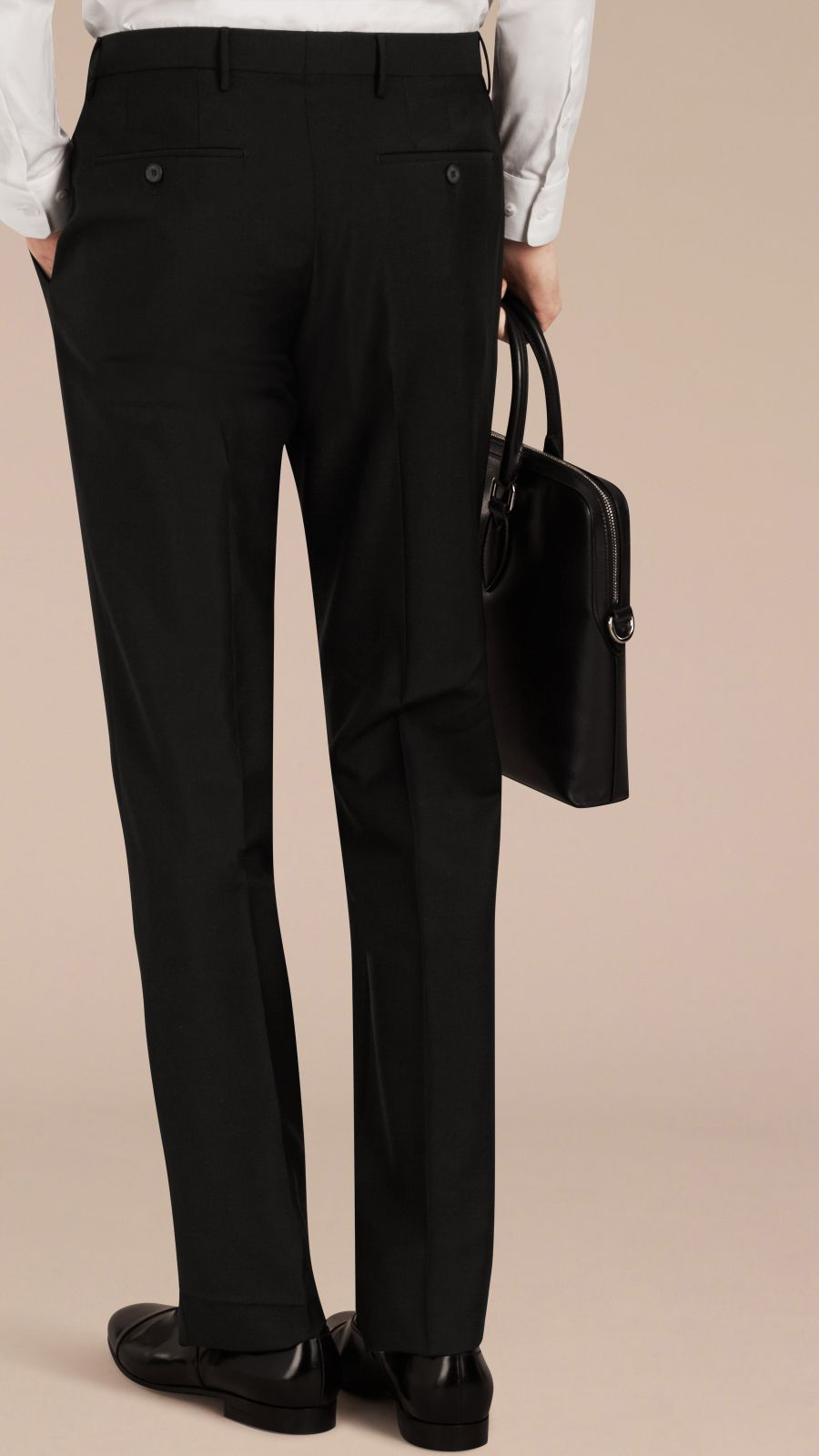 Black Slim Fit Wool Mohair Trousers Black - Image 4