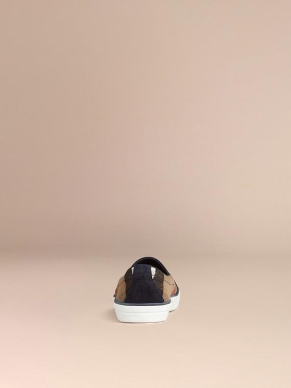 Navy Sneaker senza lacci con motivo Canvas check e pelle scamosciata Navy - cell image 3