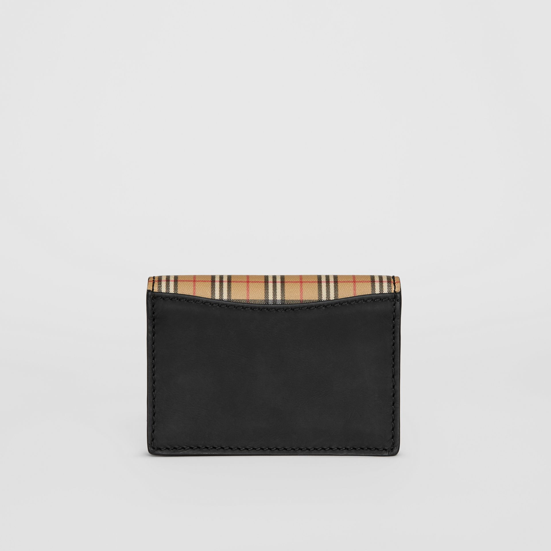 Small Scale Check and Leather Folding Card Case in Antique Yellow - Women | Burberry - gallery image 2
