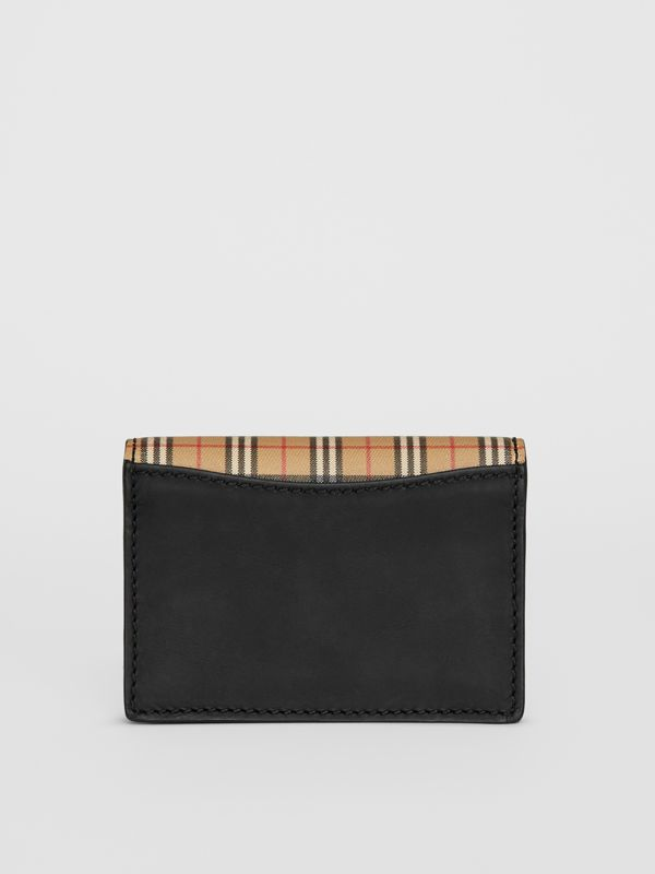 Small Scale Check and Leather Folding Card Case in Antique Yellow - Women | Burberry - cell image 2