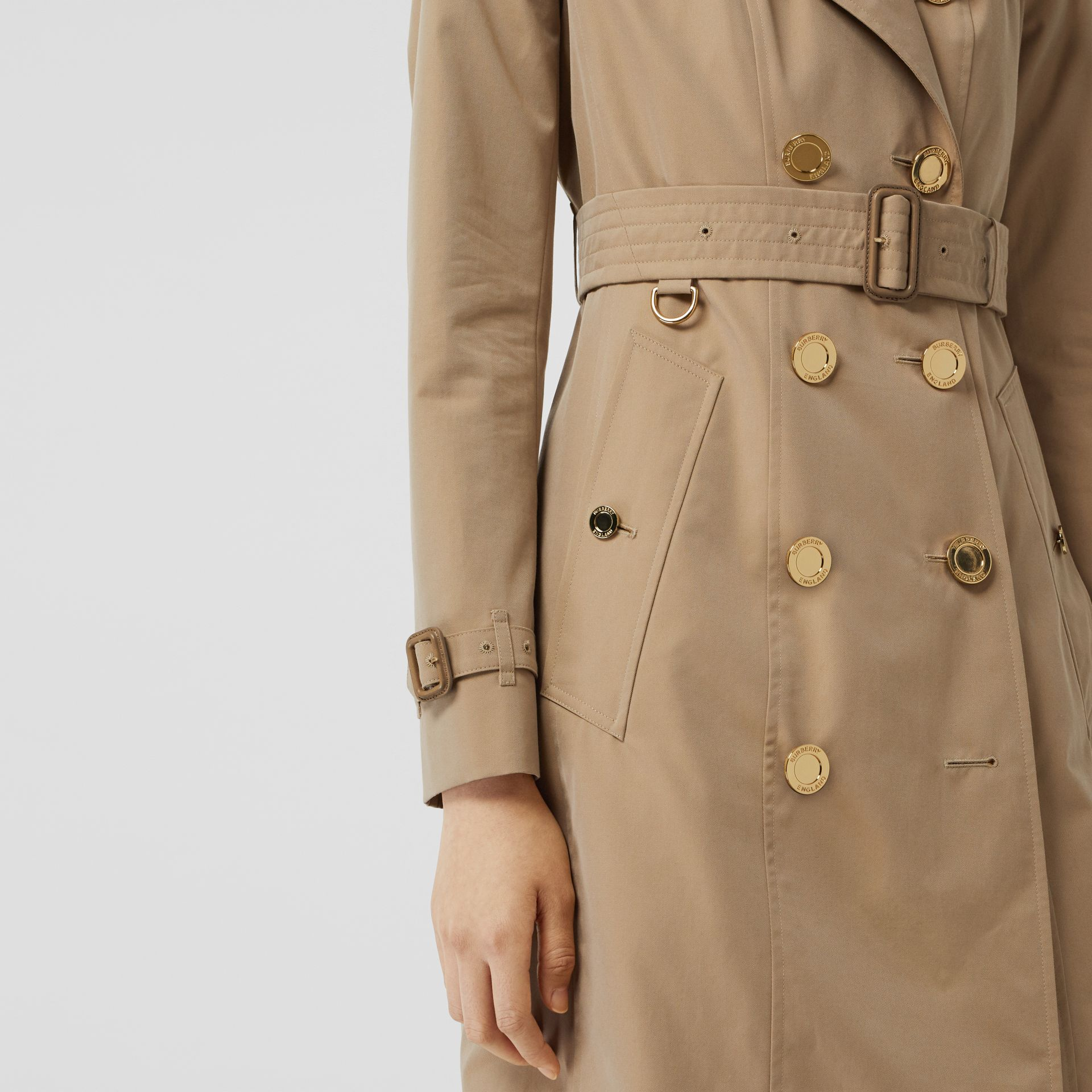 Gold Button Cotton Gabardine Trench Coat in Honey - Women | Burberry - gallery image 4
