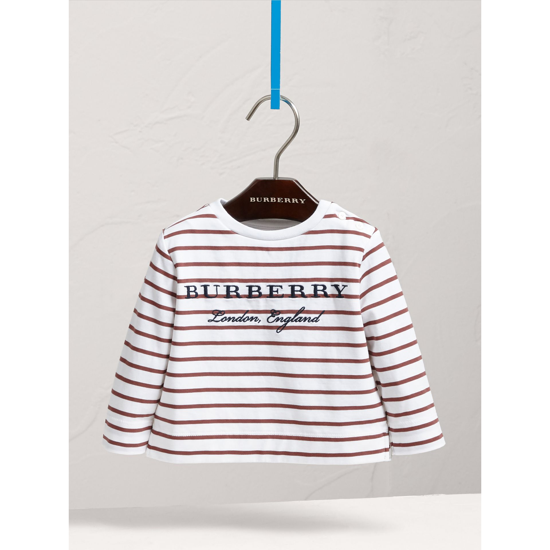 Embroidered Motif Striped Cotton Top in Antique Rose/white | Burberry - gallery image 3
